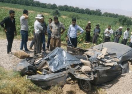 تصادف مرگبار بوکان- میاندوآب ورودی روستای اوچتپه دونفر فوتی داشت
