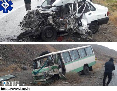 تصادف مرگبار کاشان بین خودرو پراید با مینی بوس شش نفر دچار مصدومیت شدند