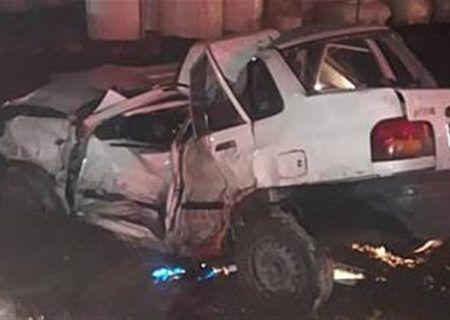 تصادف پراید در تهران-ساوه باعث محبوس شدن و مصدومیت راننده شد.