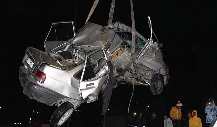 تصادف شدید بزرگراه بعثت و ناپدید شدن راننده