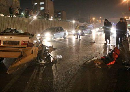 تصادف مرگبار سمند و کامیون در اتوبان خرازی