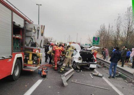 تصادف خونین در یادگار امام و قطع پای راننده