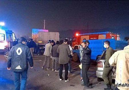 تصادف شدید در ورامین دو نفر مصدوم شدند