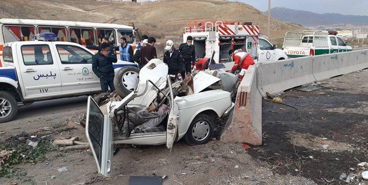 تصادف مرگبار امروز در محور کامیاران ـ سروآباد بین دو خودرو پژو ۴۰۵ و پیکان