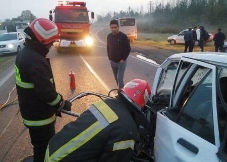 تصادف مرگبار رشت به لاکان یک کشته و ۸ زخمی داشت