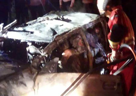 سوختن 5 زن و مرد گیلانی در تصادف مرگبار پراید و سمند