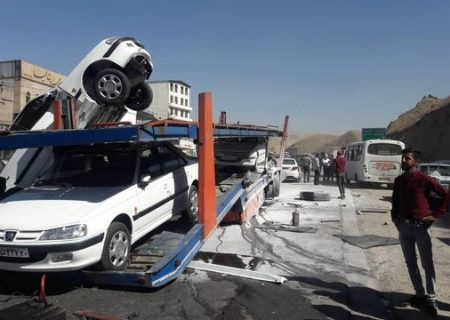 تصادف امروز در جاجرود بر اثر ترمز بریدن یک دستگاه تریلی